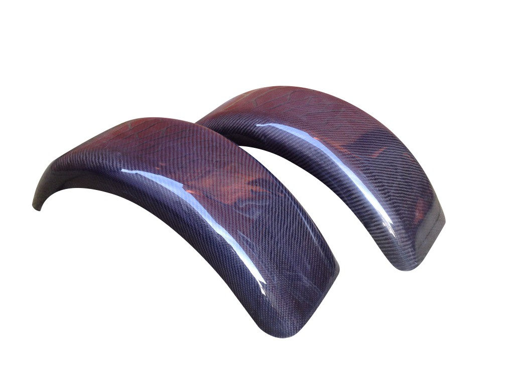 "Caterham Style Rounded Front Cycle Wing Mudguards 15"" Carbon (Pair)"