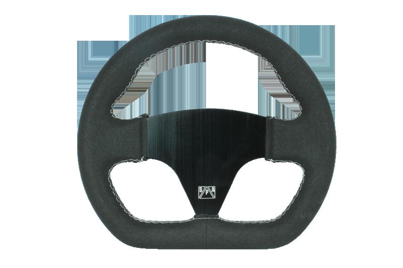 SPA 255mm D shaped black suede steering wheel